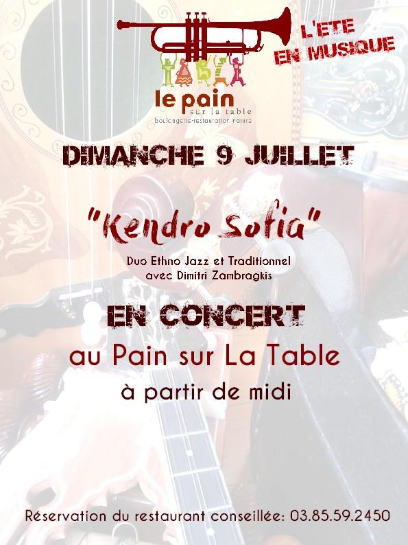 Kendro Sofia en Concert dimanche 9 juillet