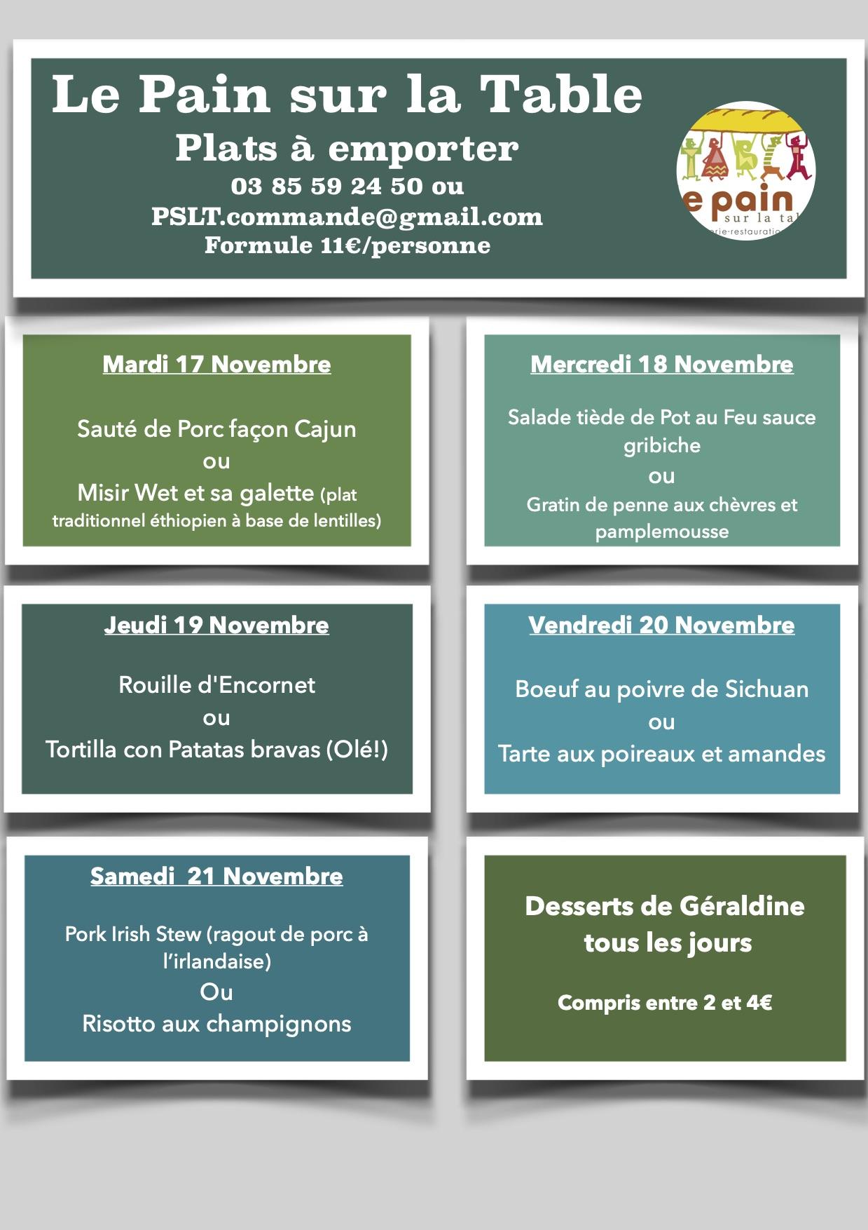 Les Menus de la semaine du 17 au 21 Novembre 2020