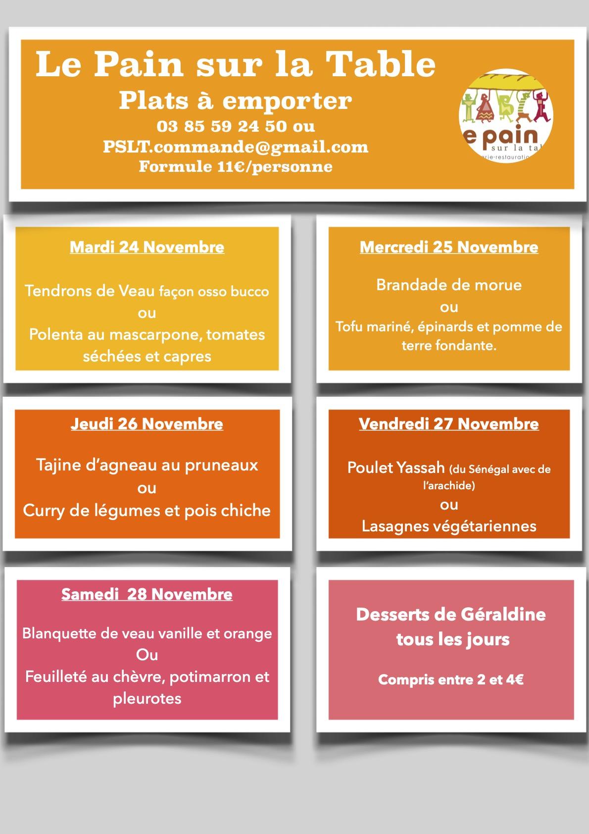 Les Menus de la semaine du 24 au 28 Novembre 2020