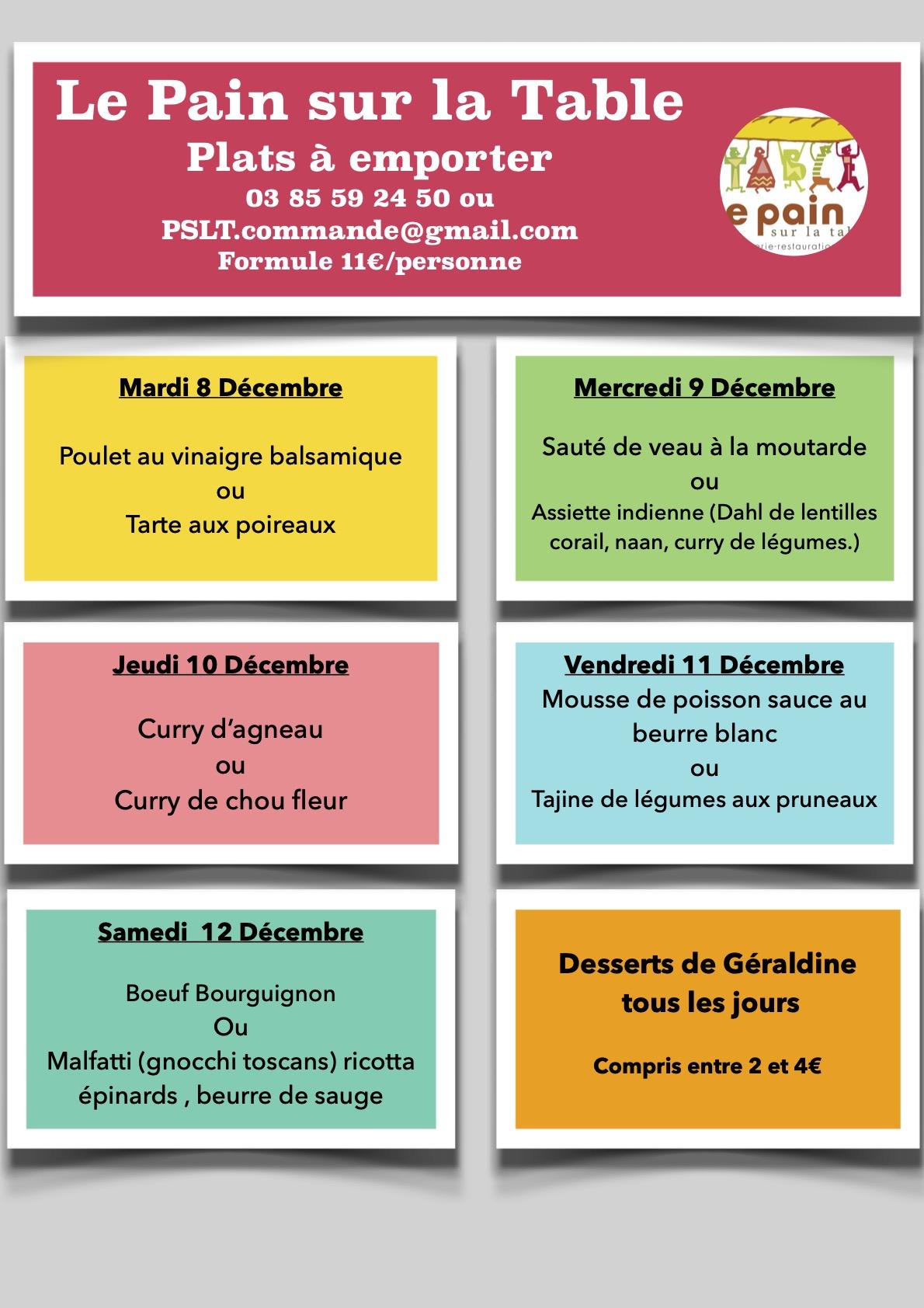 Le menus de la semaine du 8 au 12 décembre 2020