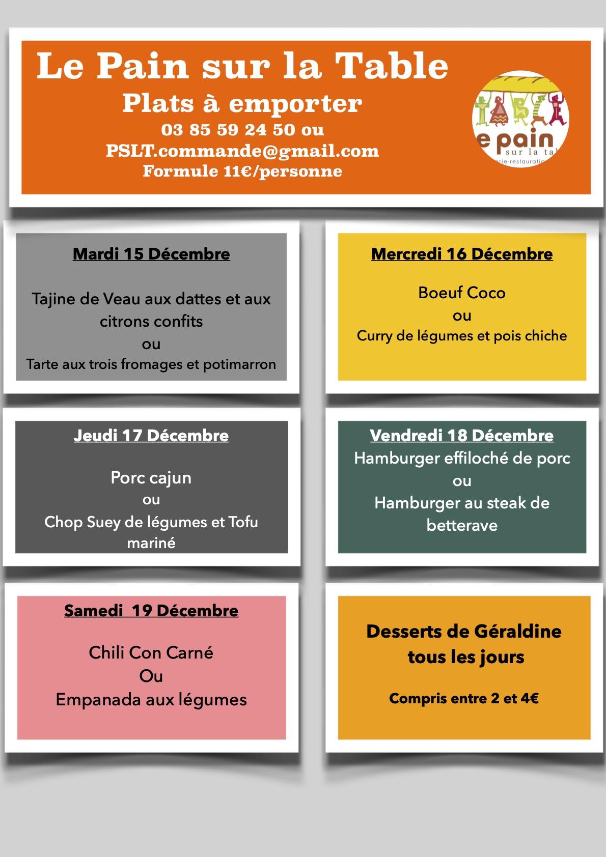 Les menus de la semaine du 15 au 19 décembre 2020
