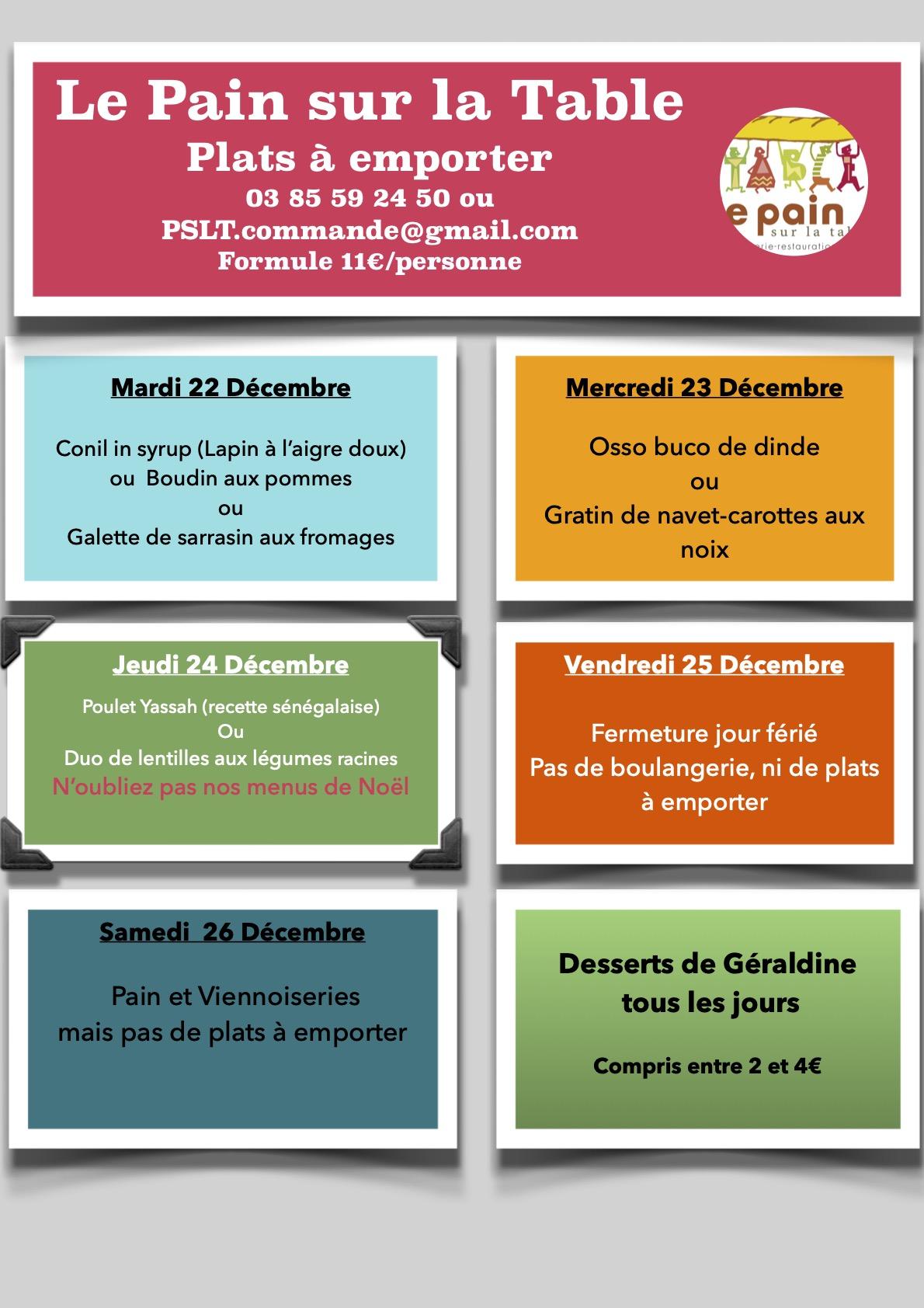 Les menus de la semaine du 22 au 24 décembre
