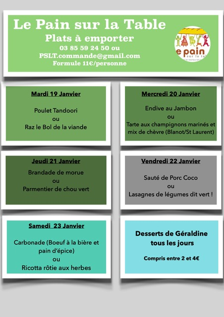 Les menus du 19 au 23 Janvier