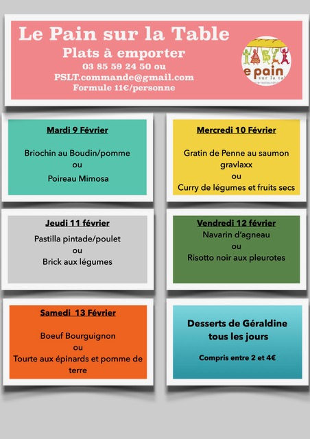 Les Menus de la semaine du 9 au 13 février 2021.