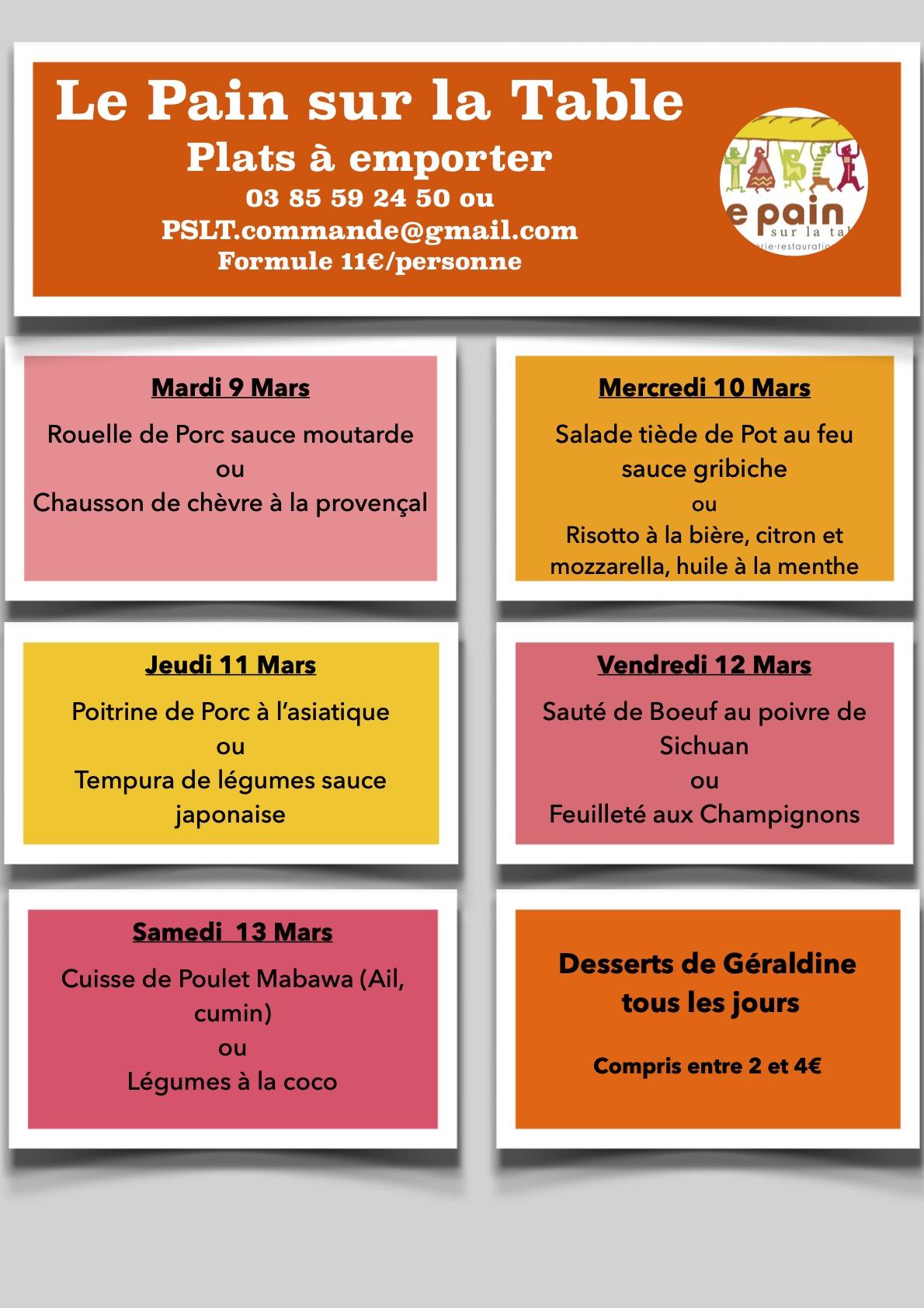 Les Menus de la semaine du 9 au 13 Mars 2021