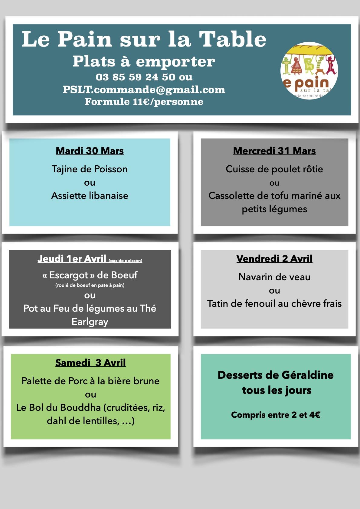 Les Menus de la semaine du 30 mars au 3 Avril 2021