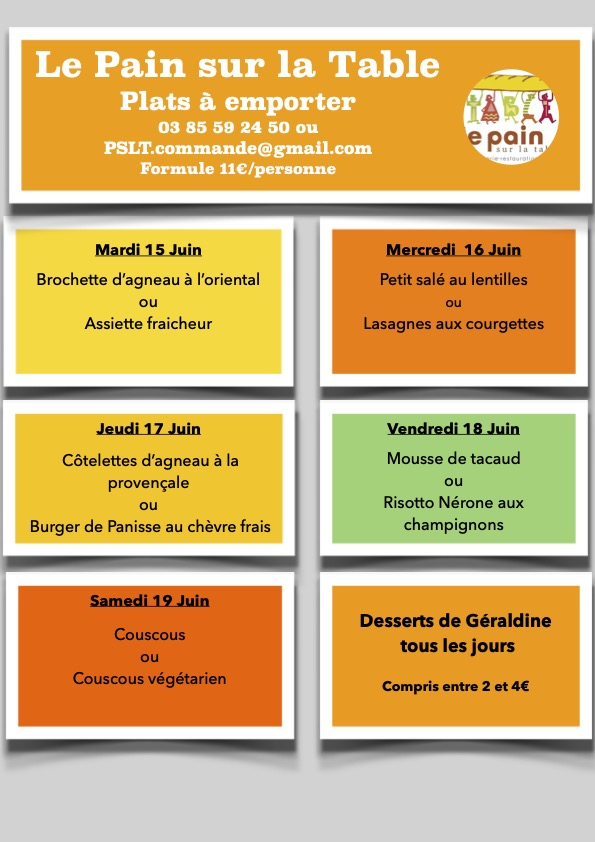 Les menus de la semaine du 15 au 19 Juin 2021