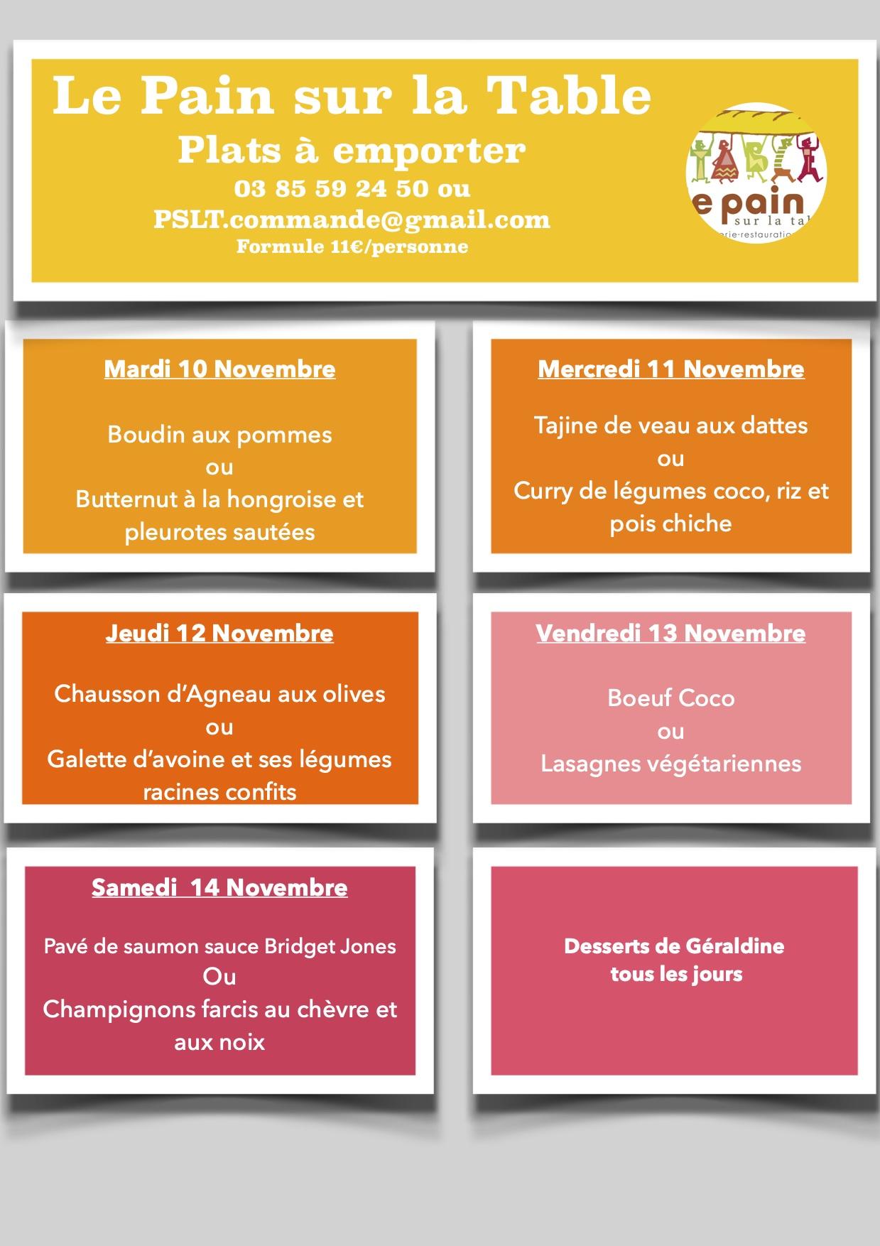 Les Menus de de la semaine du 10 au 14 Novembre 2020