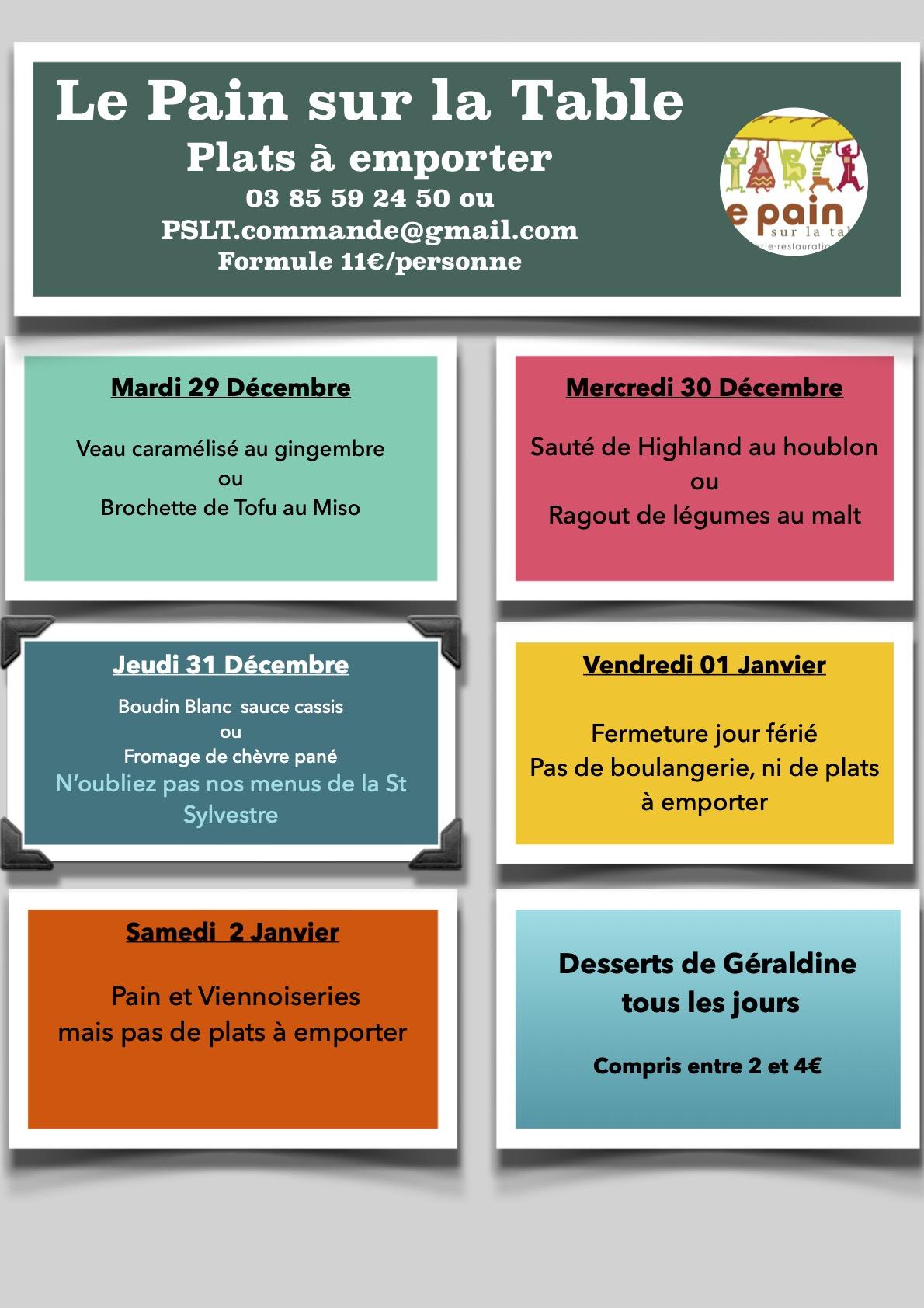 Les menus à emporter du 29 au 31 Décembre 2020