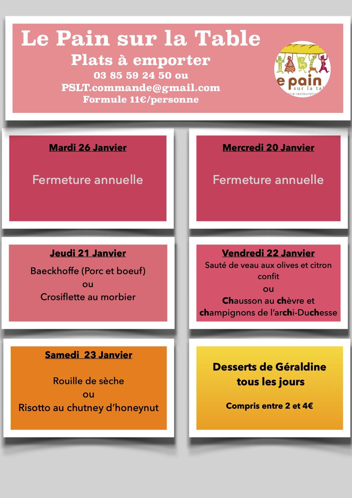 Les menus de la petite semaine d'ouverture du 28 au 30 Janvier