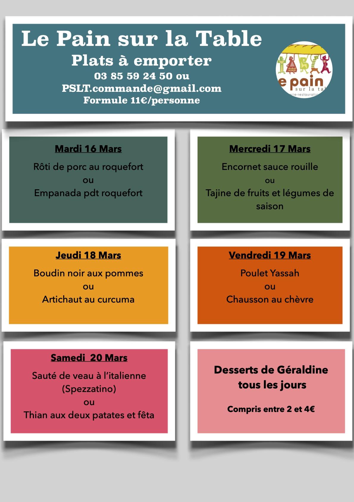 Les Menus de la semaine du 16 au 20 Mars 2021
