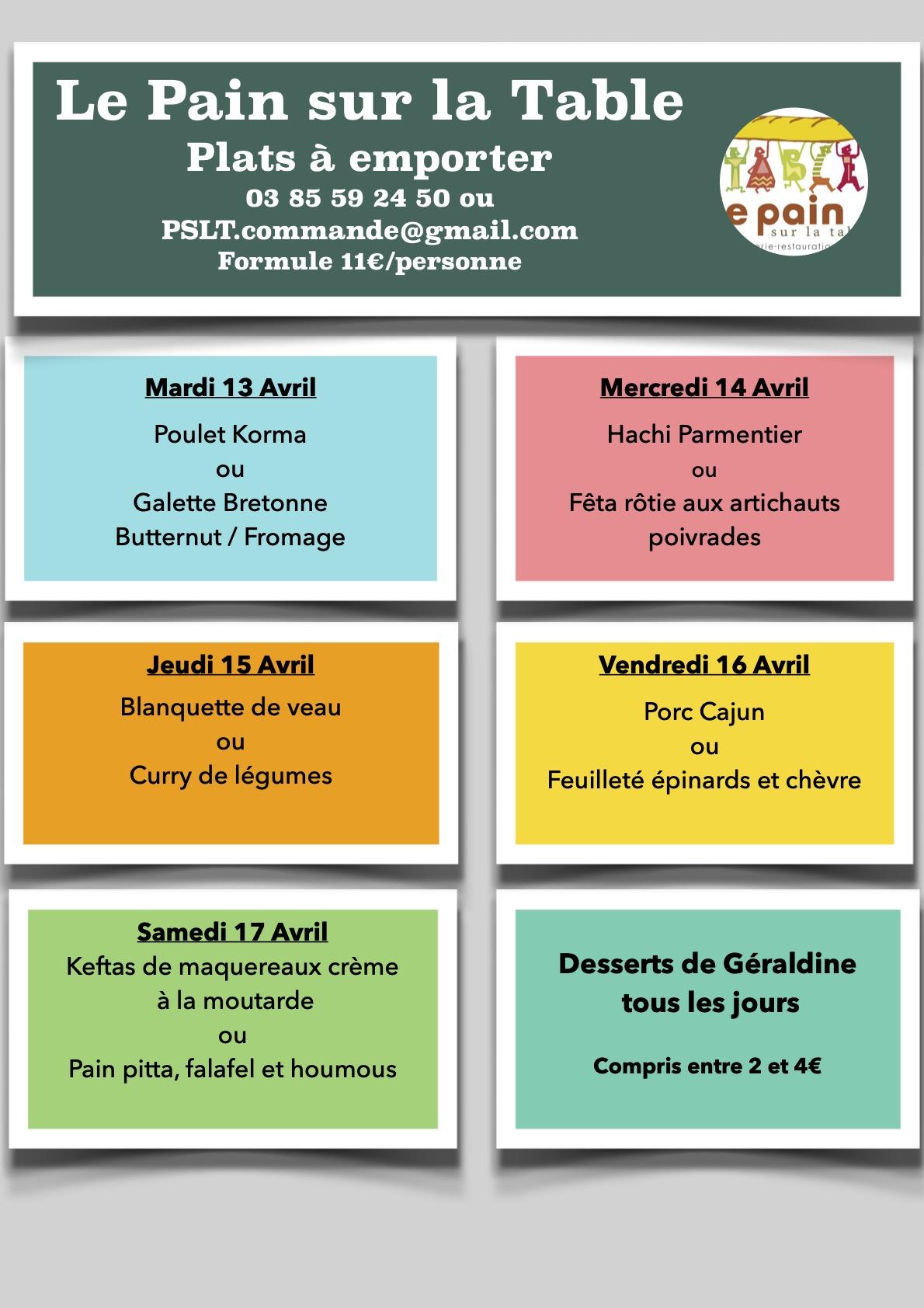 Les Menus de la semaine du 13 au 17 Avril 2021