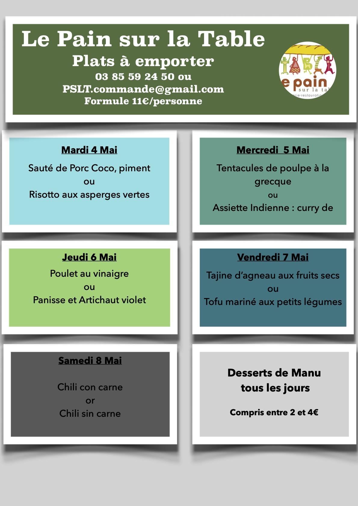 Les menus de la semaine du 4 au 8 Mai 2021
