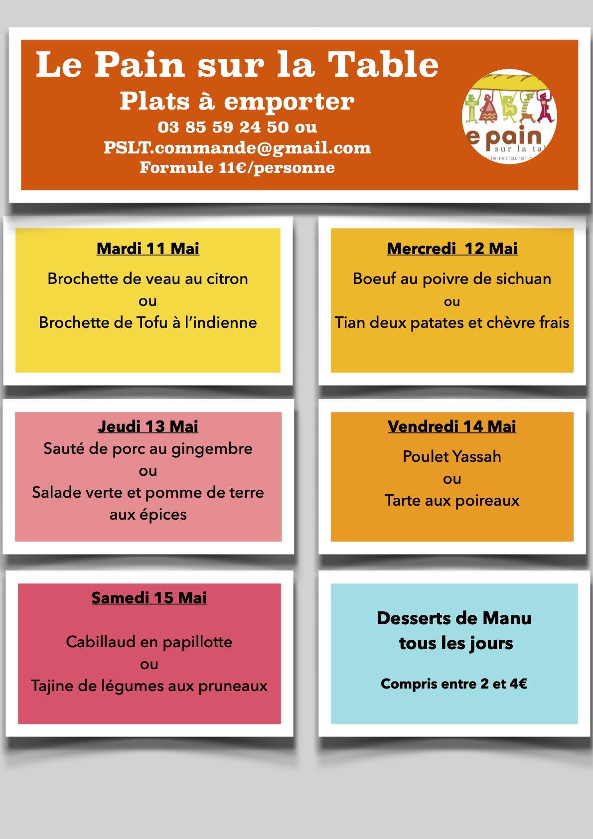 Les Menus de la semaine du 11 au 15 Mai 2021
