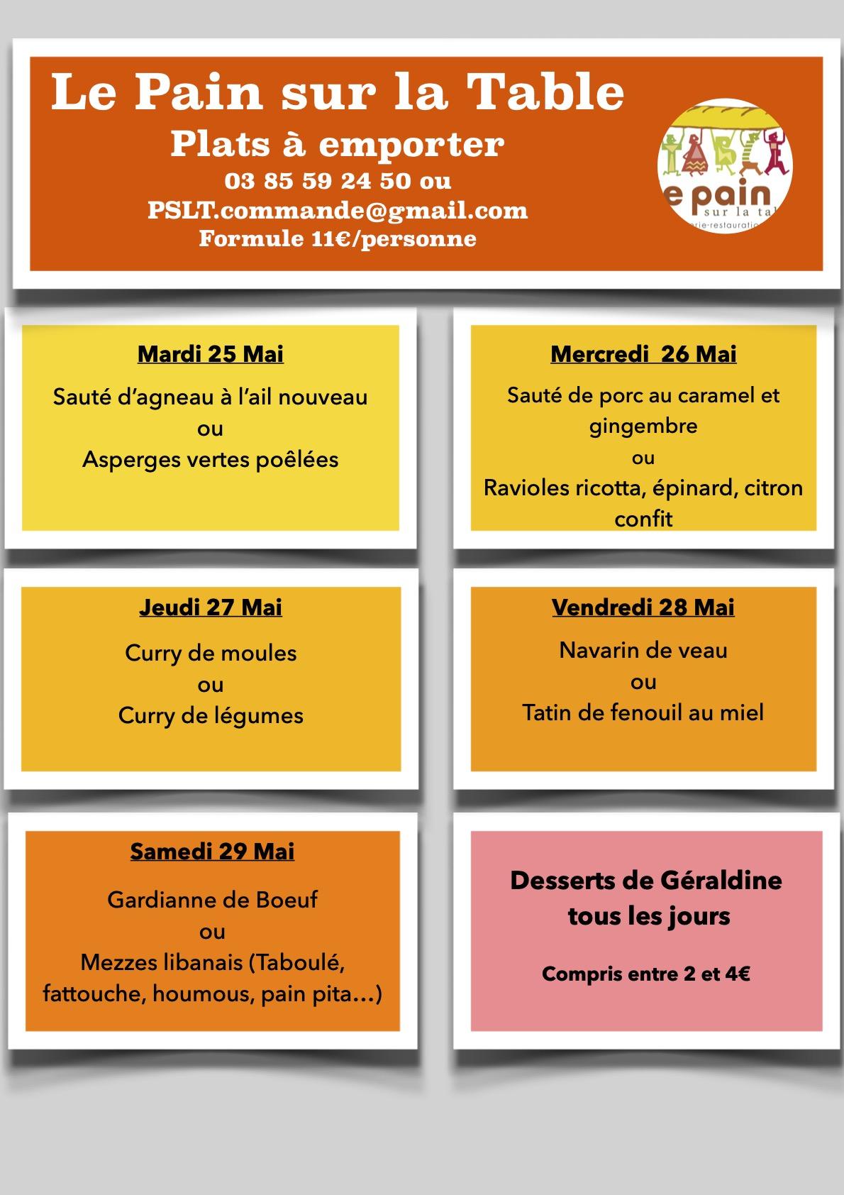 Les Menus de la semaine du 25 au 29 mai