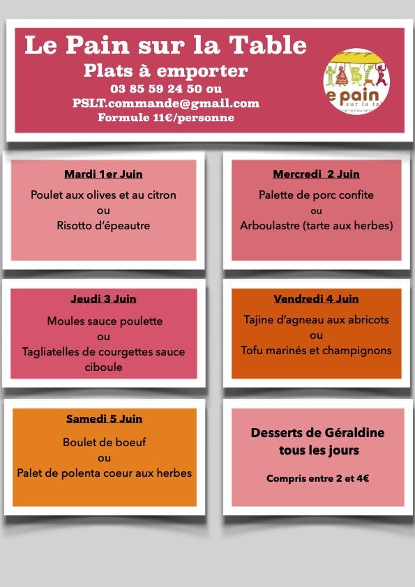 Les Menus de la semaine du 1er au 5 Juin 2021