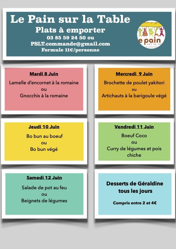 Les Menus de la semaine du 8 au 12 Juin 2021