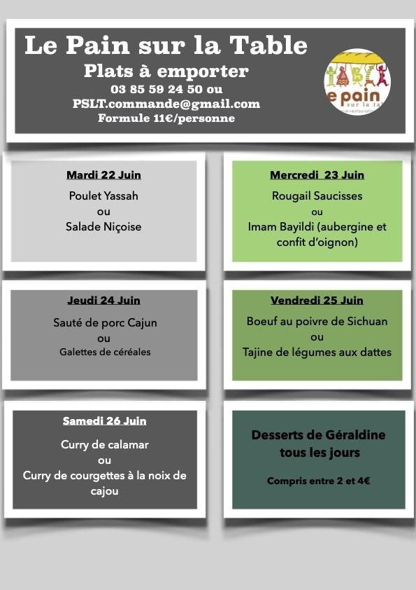 Les menus de la semaine du 22 au 26 Juin 2021