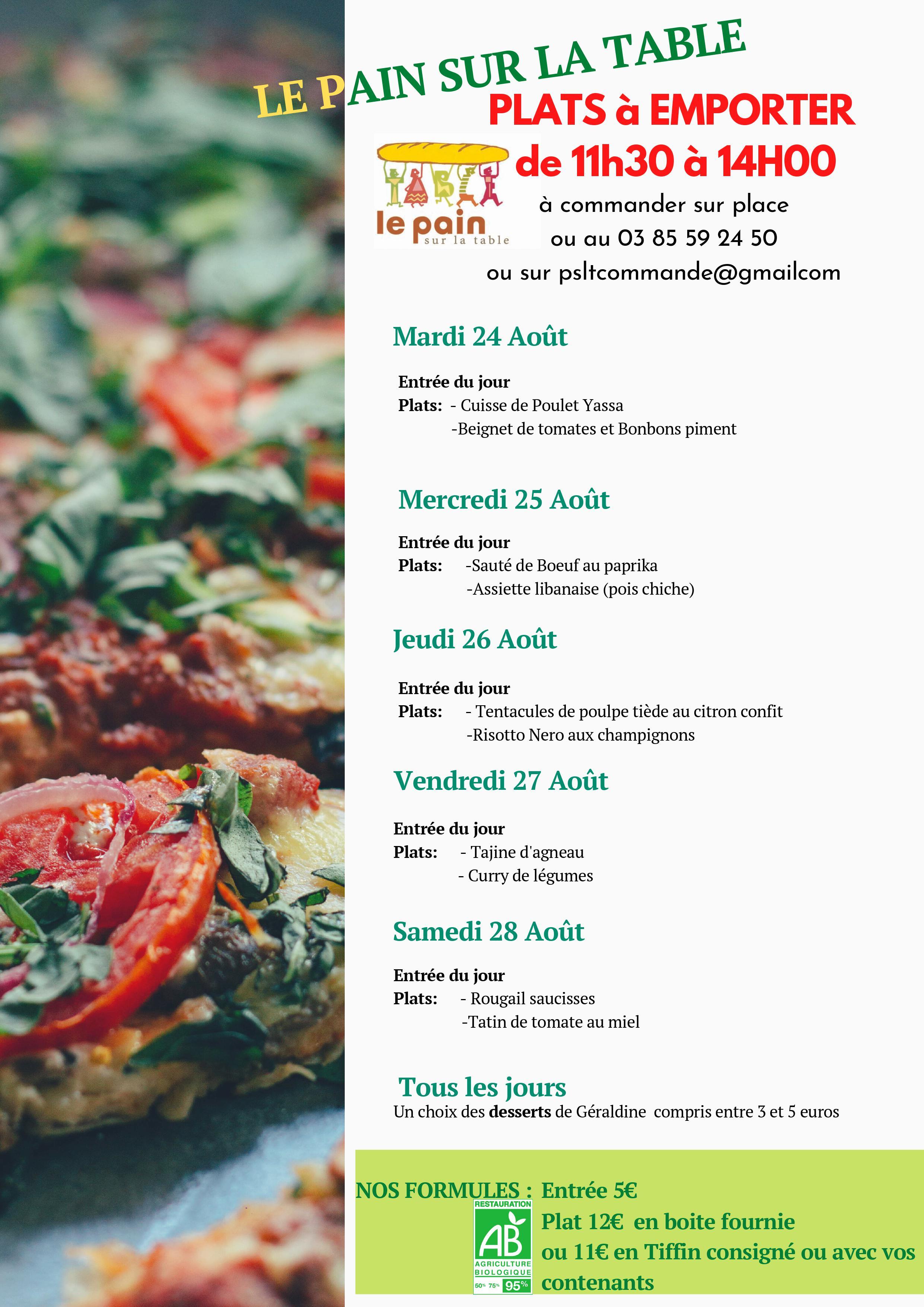 les menus du 24/08 au 28/08